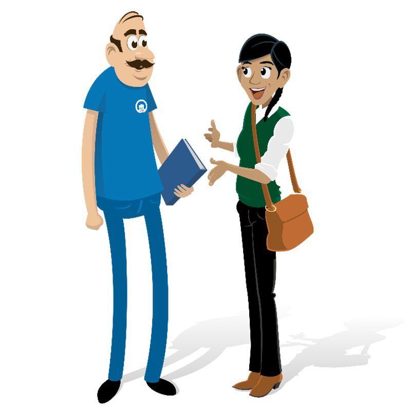 Illustration - ABK-personal pratar med en hyresgäst