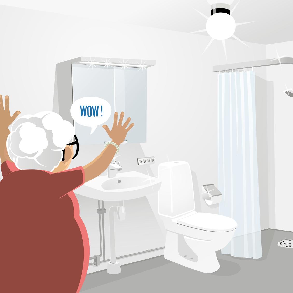 Illustration på äldre dam i ett välskött badrum