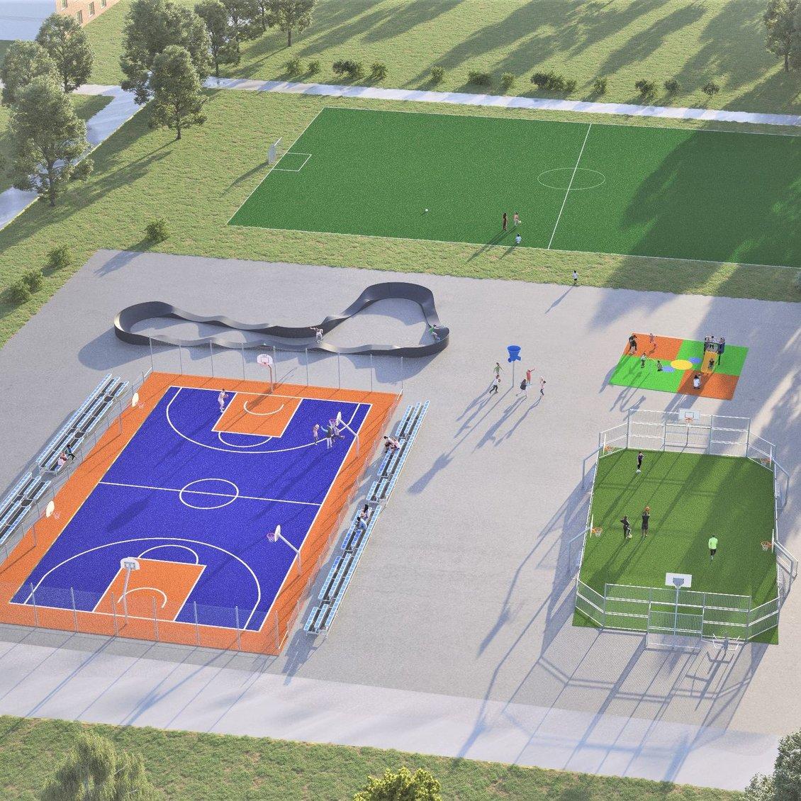 Föreslagna delar (inte färdigt förslag till utförande) i ABK:s nya multisportområde.